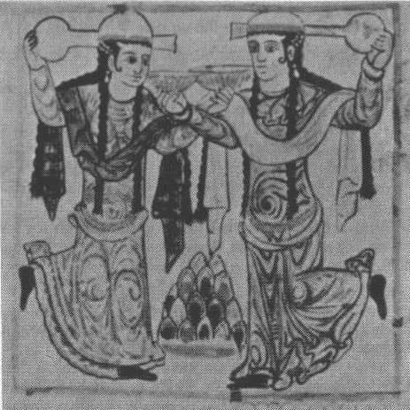 Bailarinas: pintura en los muros del palacio abbasi de Samarra, segunda mitad del siglo IX